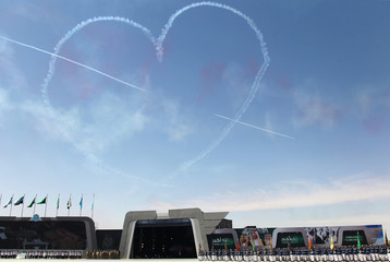 Aircrafts make heart symbol during a graduation ceremony and air show marking the 50th anniversary of the founding of King Faisal Air College in Riyadh