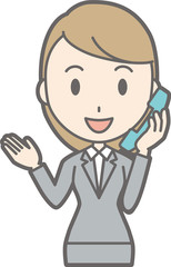 Illustration of a young woman wearing a suit on the phone