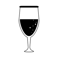 glass of champagne icon image vector illustration design  black and white