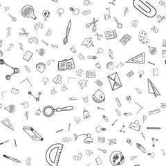 Seamless pattern Back to school. Set of drawing vector elements with a sheet in a box for education. Vector illustration EPS 10