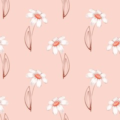 Floral seamless pattern. Watercolor background with Chamomile