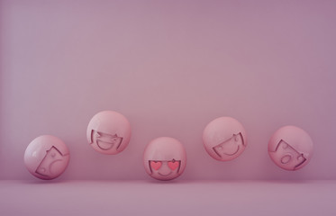 3d rendering of emotion icons with empty purple floor and wall background in mood and feeling concept