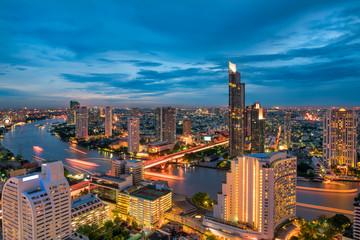Bangkok city beside of Chaophraya river at twilight scene., Bangkok of Thailand