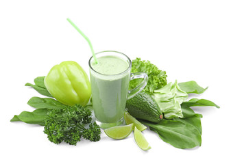 Composition with green smoothie and fresh vegetables on white background