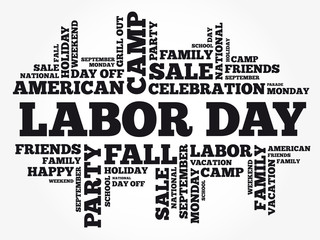 Labor Day word cloud collage, holiday concept background