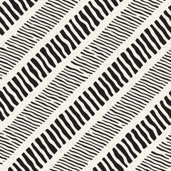 Seamless pattern with hand drawn brush strokes. Ink doodle illustration. Geometric monochrome vector pattern.