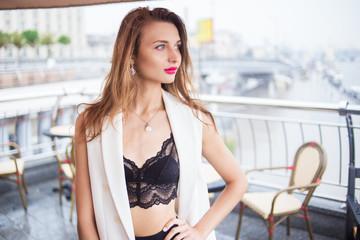 girl posing in cafe