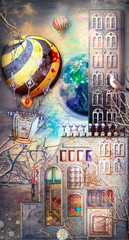 Enchanted and fairytales scenery with gothic village,castle and hot air balloons