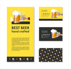 Branding, business cards and a flyer. Best beer hand crafted.  A mug of beer in hand.