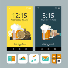 Wallpaper on the phone. A mug of beer in hand, beer mug and a beer keg. Set of vector icons for your phone.