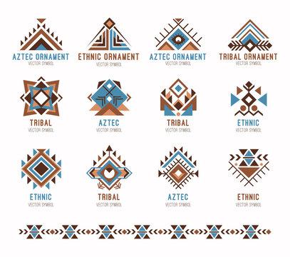 Aztec tribal ethnic ornaments set