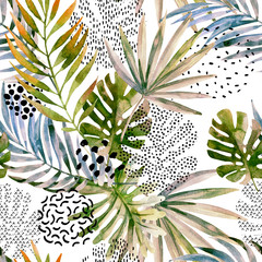 Fototapeten Grafik Druck Abstract palm, monstera leaf seamless pattern.