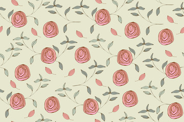Seamless pattern with cute simple flowers. Vintage floral pattern for textiles, packaging, Wallpaper.