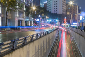 traffic light trails at night in Chongqing, China.