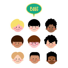 Vector Boys Face Flat Design, Collection of Different Ethnic Kids Face, Boys with different hair style