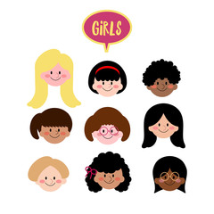 Vector Girls Face Flat Design, Collection of Different Ethnic Kids Face, Girls with different hair style