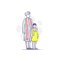 Indian man standing with son