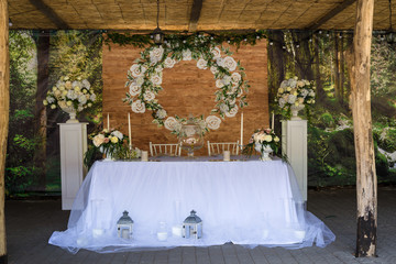 wedding banquet table outdoor  served in rustic style