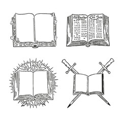 Retro book vector set engraving old style