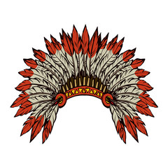 Native American with feathers. Vector drawing