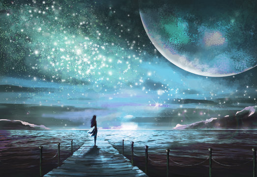 Fantastic illustration with an unknown planet and MilkyWay, stars.  girl in  dress is standing on pier on the sea and looking at the space landscape. Painting.