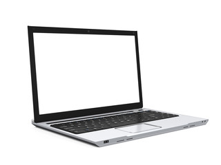 Laptop with Blank White Screen Isolated