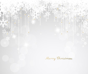 Dark Christmas background with snowflakes and simple Merry Christmas text - white version
