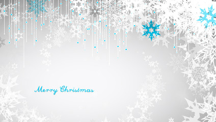 Christmas background with snowflakes and simple Merry Christmas text - white version