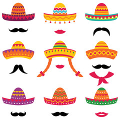 Traditional Mexican isolated sombrero hats set