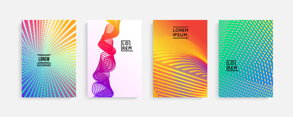 Minimal covers design. Geometric halftone gradients, vibrant shapes. Suitable for posters,covers,prints. stock vector