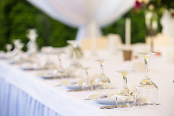 Decorated and served party banquet table outdoor