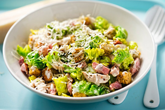 Chicken caesar salad with bacon and herb croutons