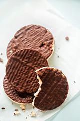 Dark chocolate coated rice cakes