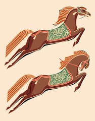 Stylized horses, colored. On a pink background
