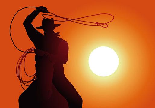 cow-boy - lasso - coucher de soleil - cheval - fond, western