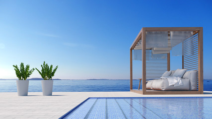 Beach lounge - Sundeck on Sea view for vacation and summer in swimming pool / 3d rendering