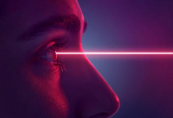 Laserstrahl trifft auf Auge