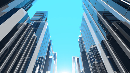 3D illustration of modern corporate skyscrapers with reflective blue windows. The camera is tilted upwards.