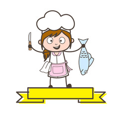 Cartoon Waitress Presenting a Knife and Fish Vector Illustration