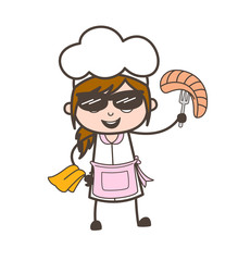 Cartoon Modern Waitress Holding a Bread with Spoon Vector Illustration