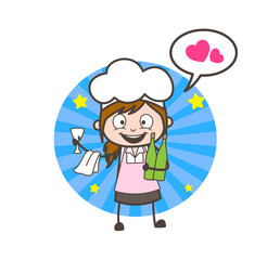 Cartoon Waitress Love to Drink Beverages Vector Illustration