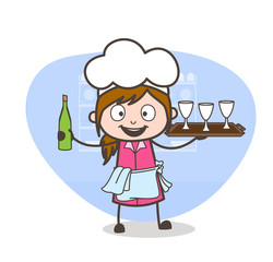 Cartoon Waitress Showing Wine Bottle and Glasses Vector Illustration