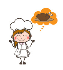 Cartoon Excited Waitress Thinking for Chicken Vector Illustration