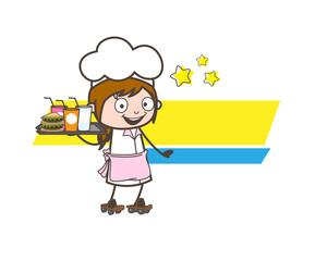 Cartoon Joyful Waitress Skating with Breakfast Vector Illustration