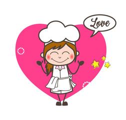 Cartoon Waitress Blushing Expression Vector Illustration