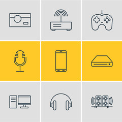 Vector Illustration Of 9 Gadget Icons. Editable Pack Of PC, Photography, Sound Recording And Other Elements.