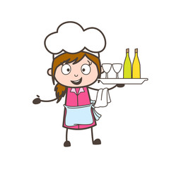 Cartoon Waitress Holding a Plate of Wine Bottles and Glasses Vector