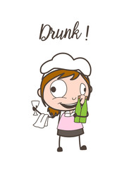 Cartoon Funny Drunk Waitress Caricature Face Vector Illustration