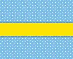 Gepunkteter Hintergrund blau weiß mit gelbem Streifen