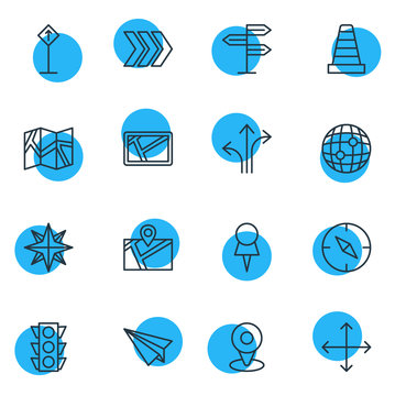 Vector Illustration Of 16 Navigation Icons. Editable Pack Of Orientation, Navigation, Stoplight And Other Elements.